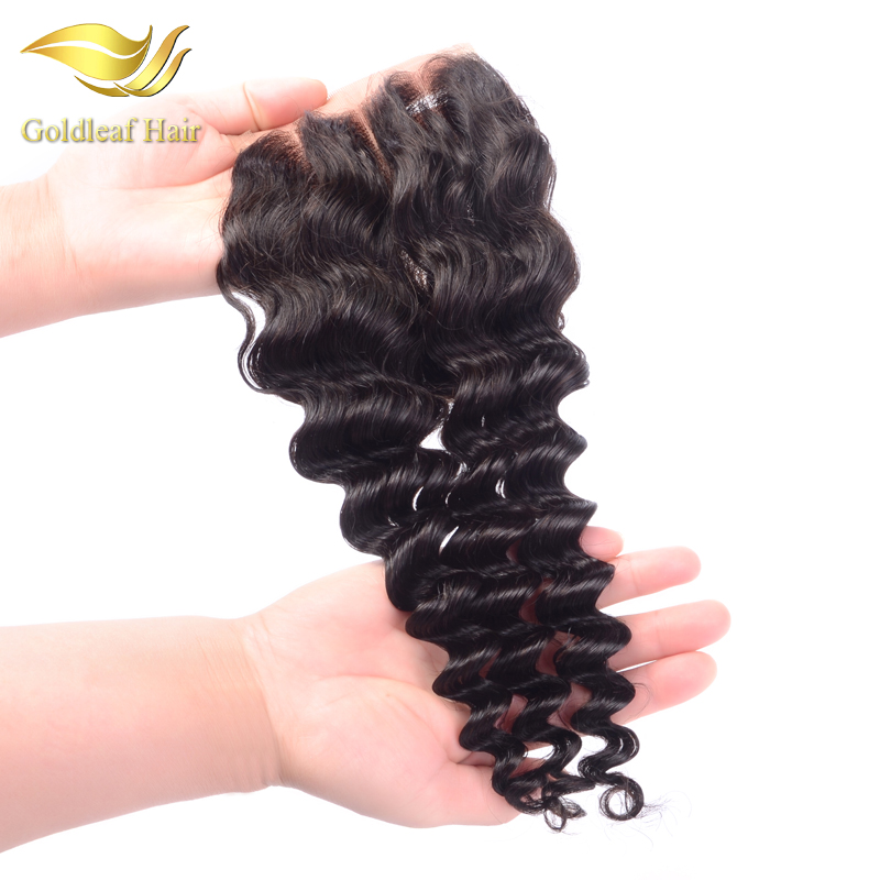 100% handmade brazilian bleached knots cheap lace closure 4 * 4 with baby hair deep wave