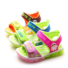 2016 summer kids led light up shoes children beach casual sandals shoes with light cartoon casual