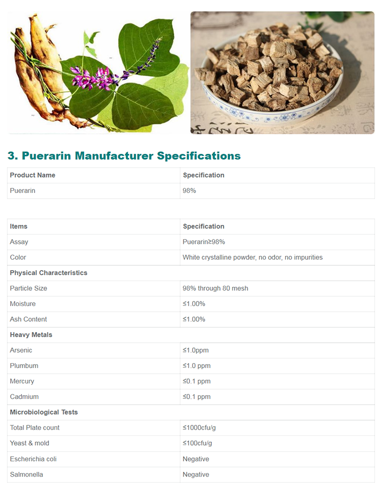 High quality cosmetic grade puerarin extract 100% pure natural  Puerarin power 98%