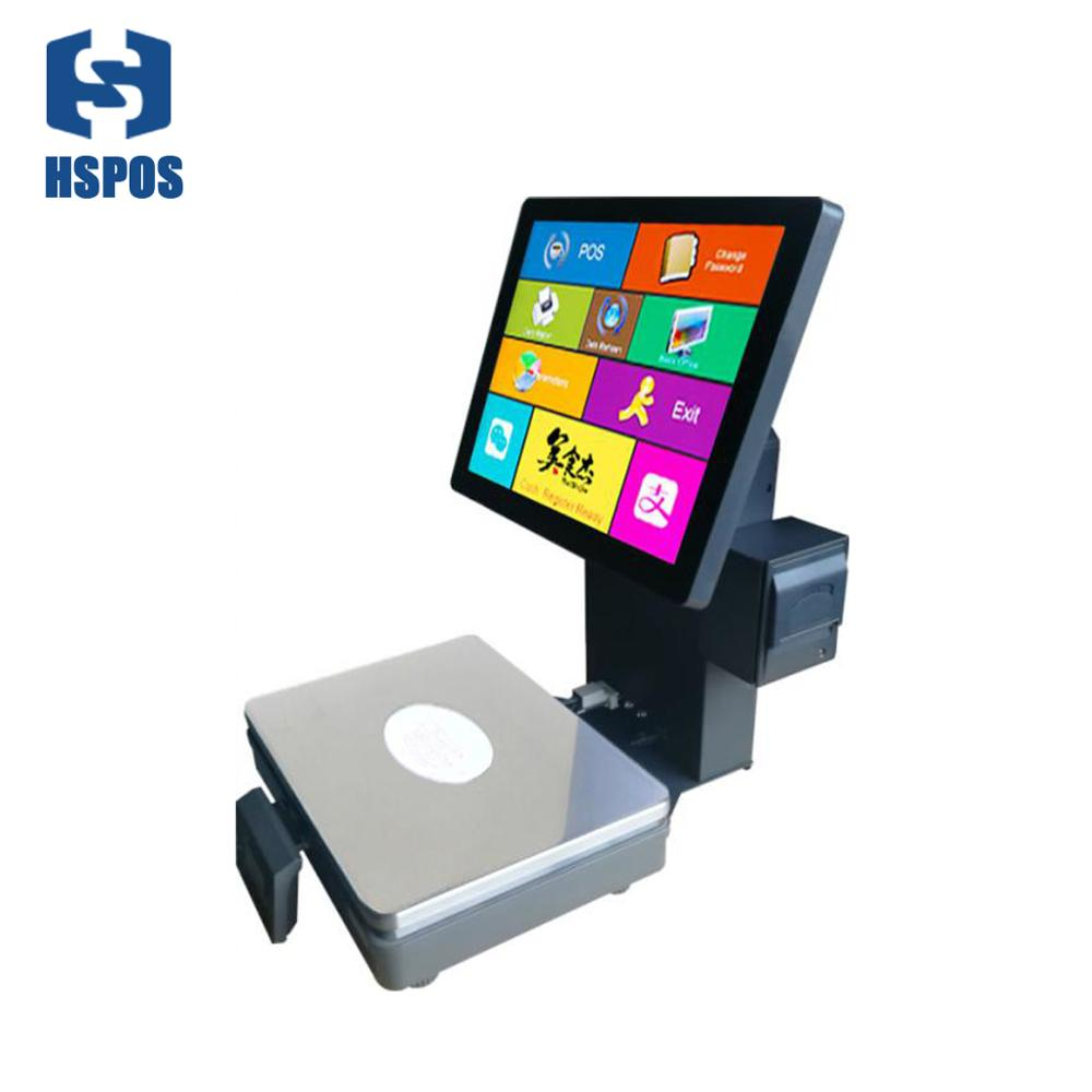 Newest 15 inch pos machine with scale built-in 58mm thermal printer support max 15kg <strong>weight</strong> for fruit store