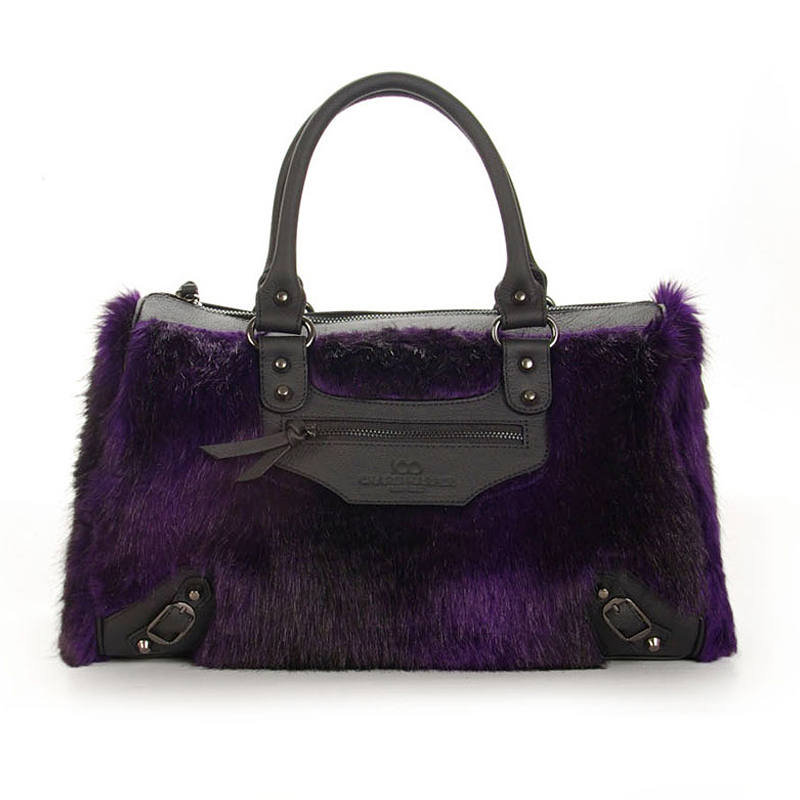 hot sale tote bag luxury artificial fur genuine leather handbag for women tote bag