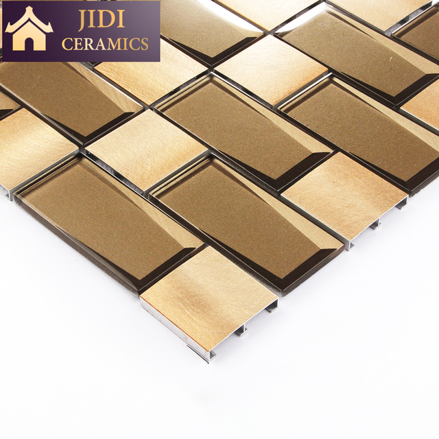 New design subway style 3D glass mix square aluminum metal mosaic wall tile