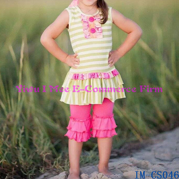 Trendy Giggle Moon Remake Girls Cotton Outfits Kids Ruffled Capris Pant Clothing Sets IM-CS046