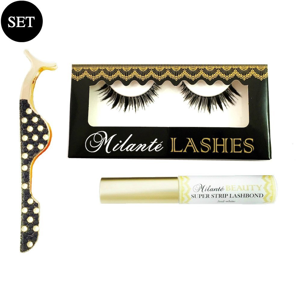 9f46a791a09 Milanté BEAUTY Envious False Lashes Black Natural Thick Long Full Reusable,  Eyelash Applicator And Latex