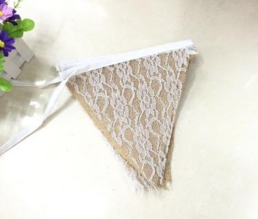 Fabric Bunting hessian calico ivory lace shabby chic wedding rustic