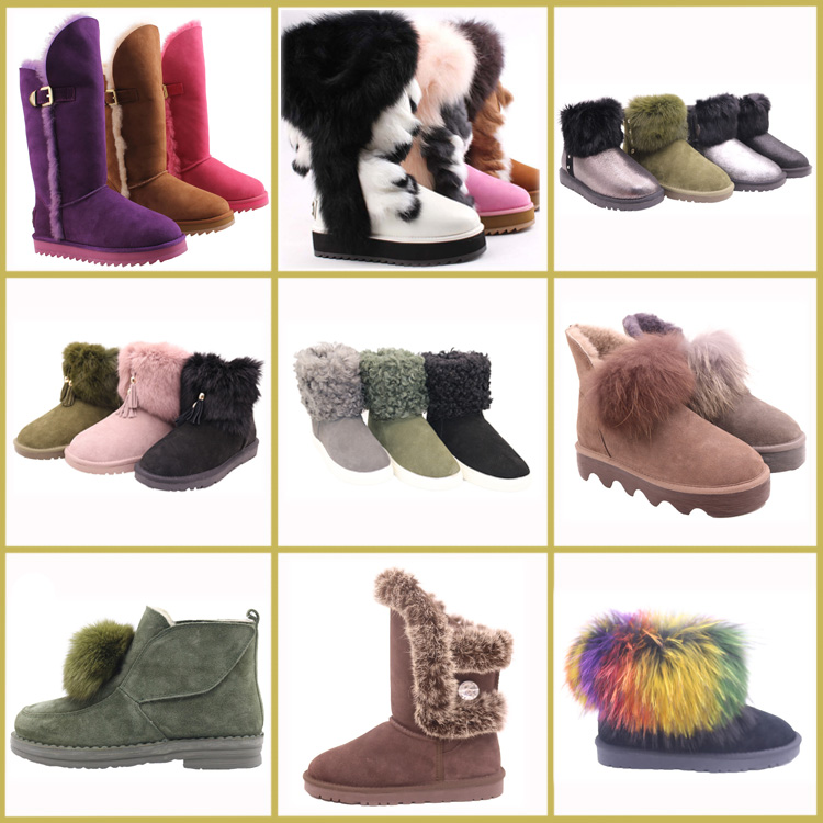 AN-CF-52 Top Selling Waterproof Genuine Leather Long Design Thigh Winter Snow Racoon Fur High Boots