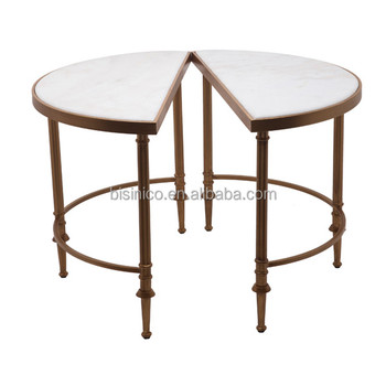 Le Round Coffee Table With Marble Top Unique Design Detachable End Iron Stand Art Home Decoration Antique