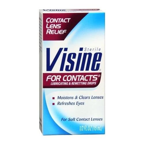 Visine For Contacts Lubricating & Rewetting Eye Drops 0.5 OZ - Buy Packs and SAVE (Pack of 4)