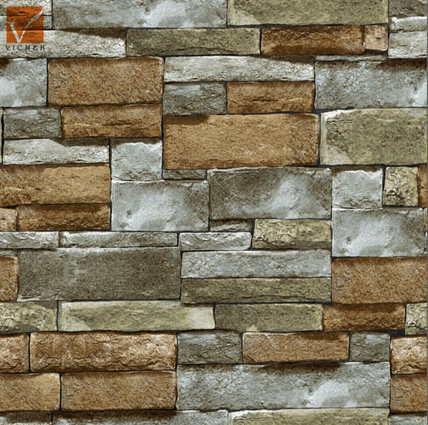 3d Popular Natural Stone Wallpaperbrick Design Vinyl