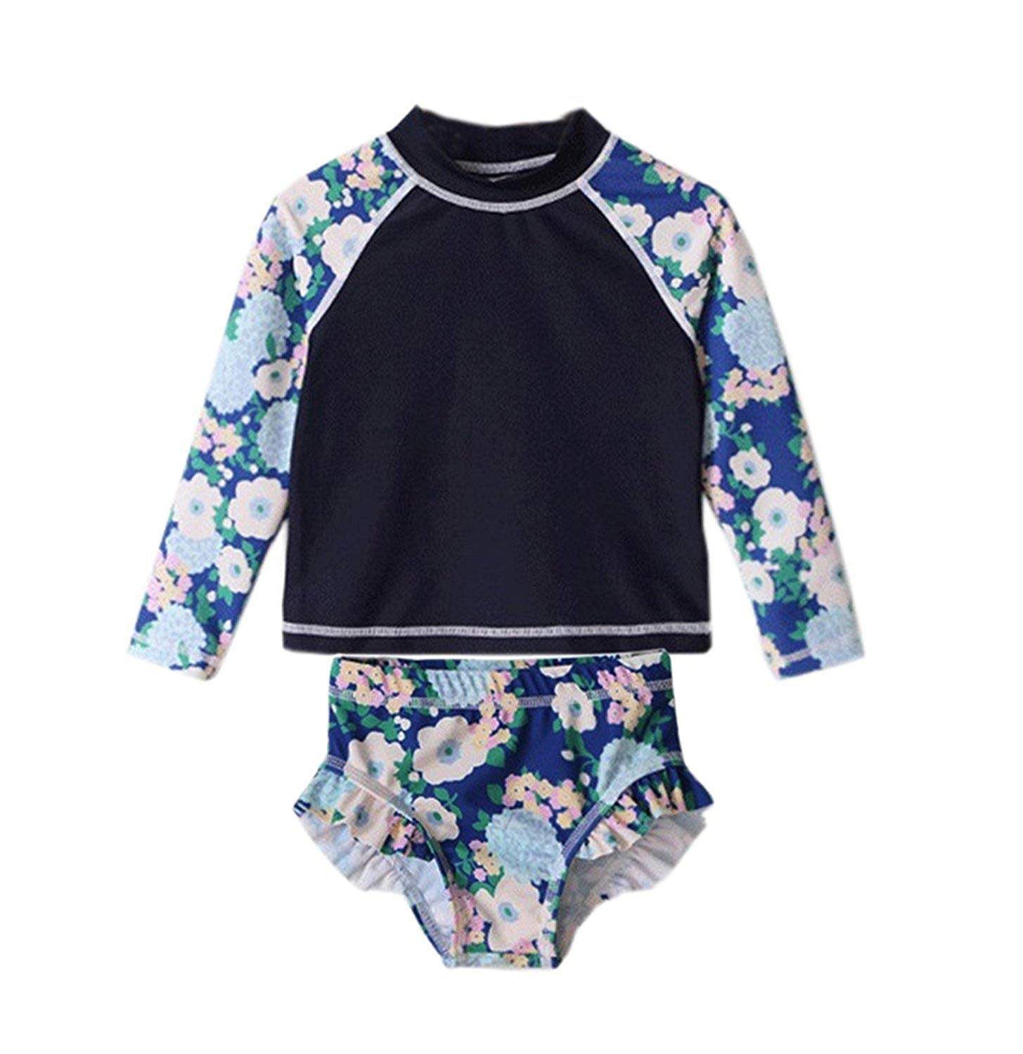 Jojobaby Baby Kids Girls Floral Long Sleeve Rash Guard Swimsuit Two Pieces Sun Protetion Swimwear Set UPF 50+