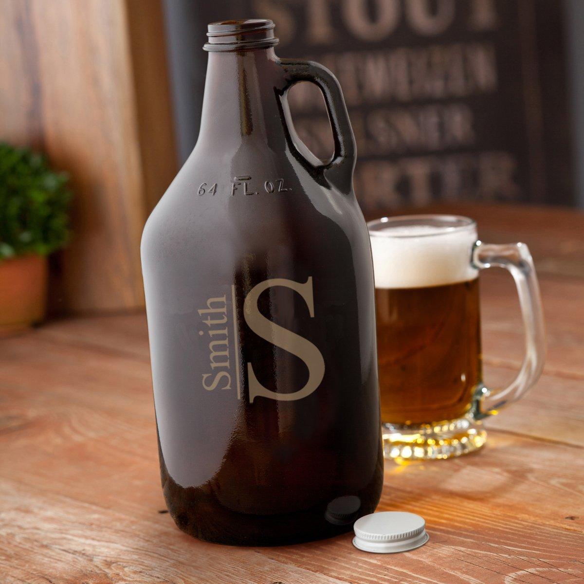 Modern Monogrammed Amber Beer Growler