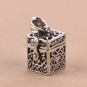 Urn Pendant Cremation pendant Memorial Pet Stainless Steel Tibetan Box Pet Ashes Urn Jewelry