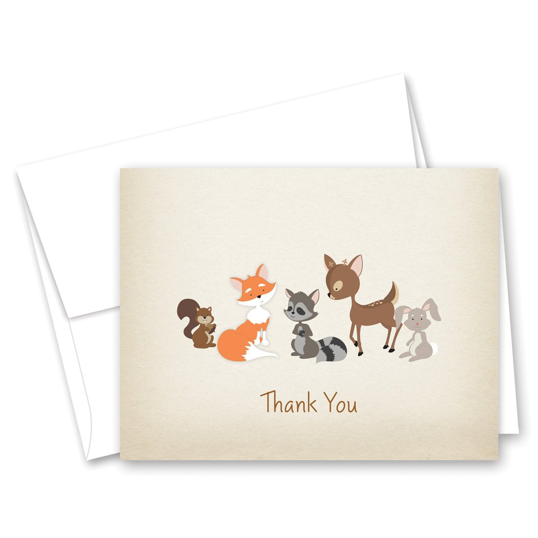 MyExpression.com 50 Cnt Woodland Animals Rustic Baby Shower Thank You Cards