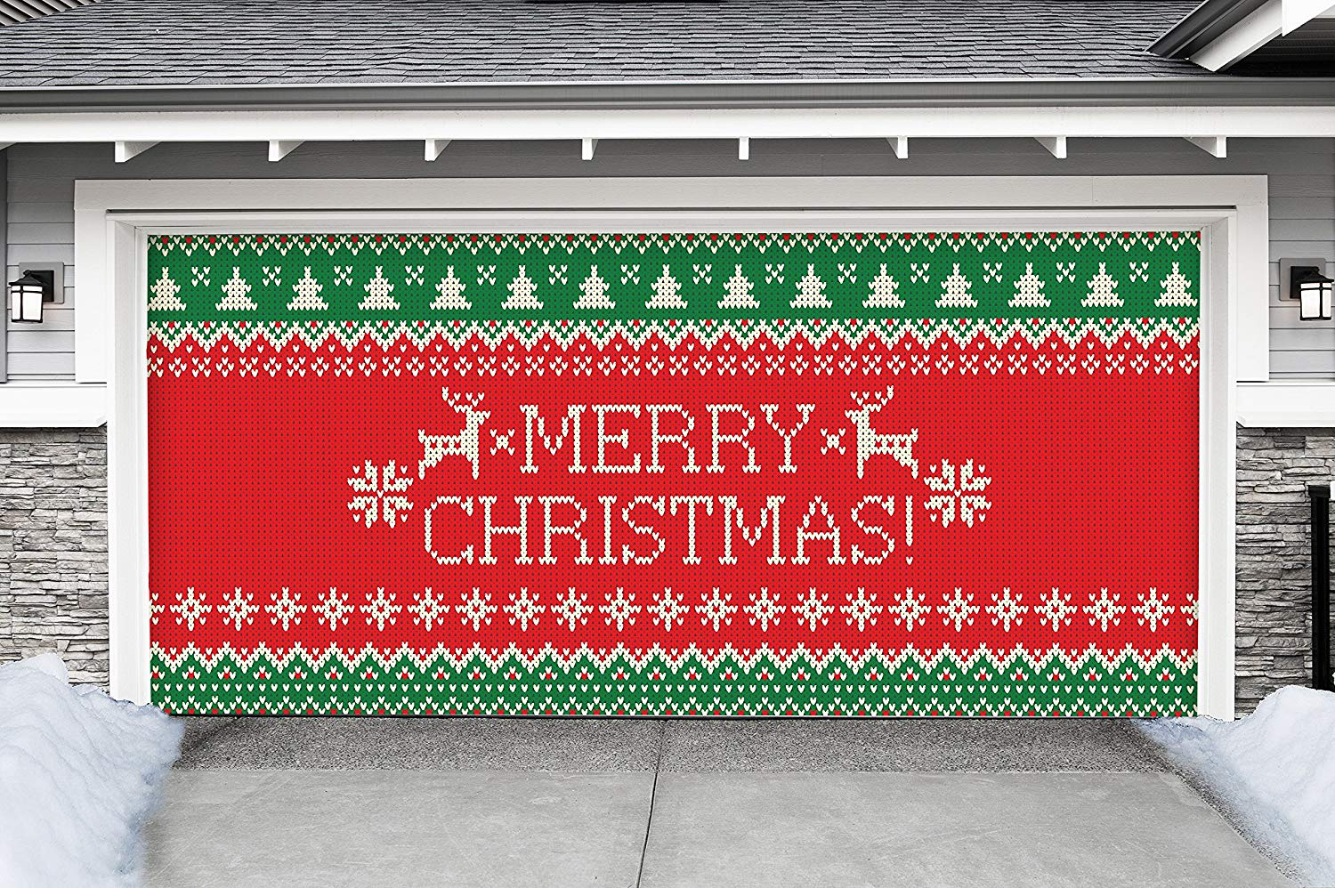Victory Corps Outdoor Christmas Holiday Garage Door Banner Cover Mural Décoration - Ugly Christmas Sweater Merry Christmas - Outdoor Christmas Holiday Garage Door Banner Décor Sign 7'x16'
