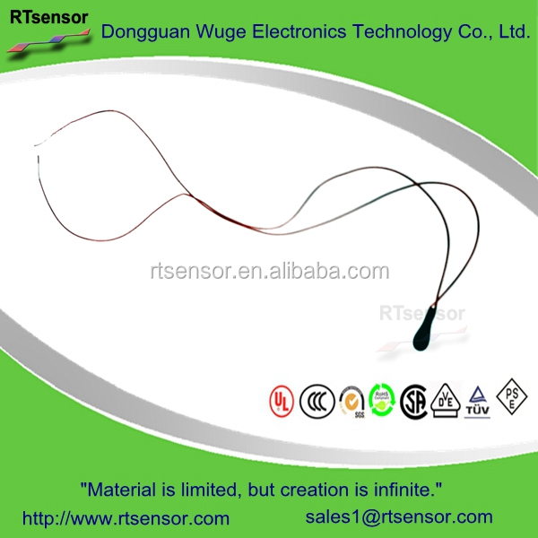 Linear Epoxy Resin MF52 DT2103GE NTC Thermistor 10K 3950 2% With Red Enamelled Wire