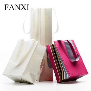 Fanxi Whole Custom Logo White Color Craft Printed Shipping Bags For Jewelry Gift Ng Handle Paper