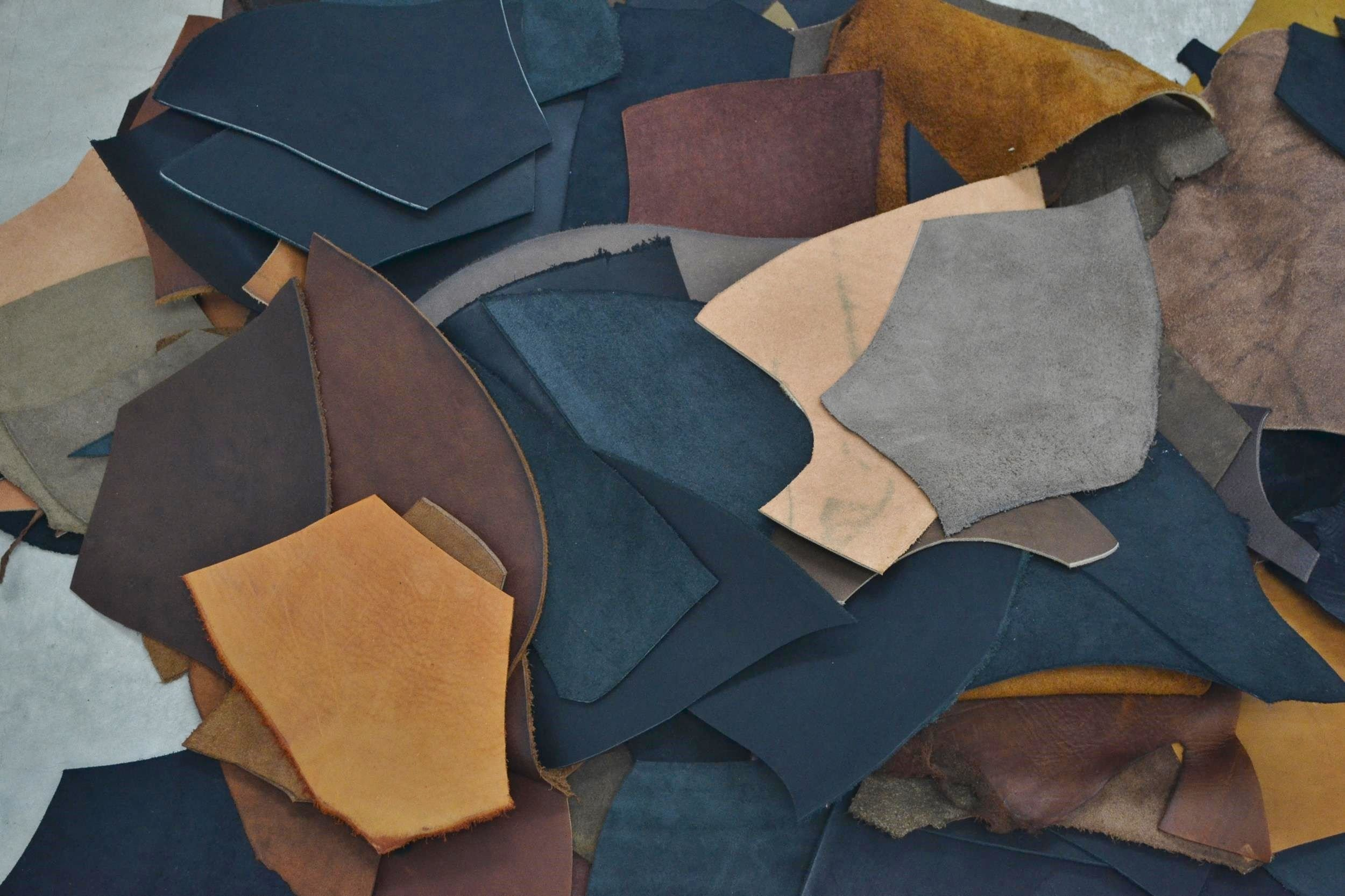 Leather Scrap Oil Tanned Cow 1 Pound 5-6 Ounces Earth Toned Colors -j