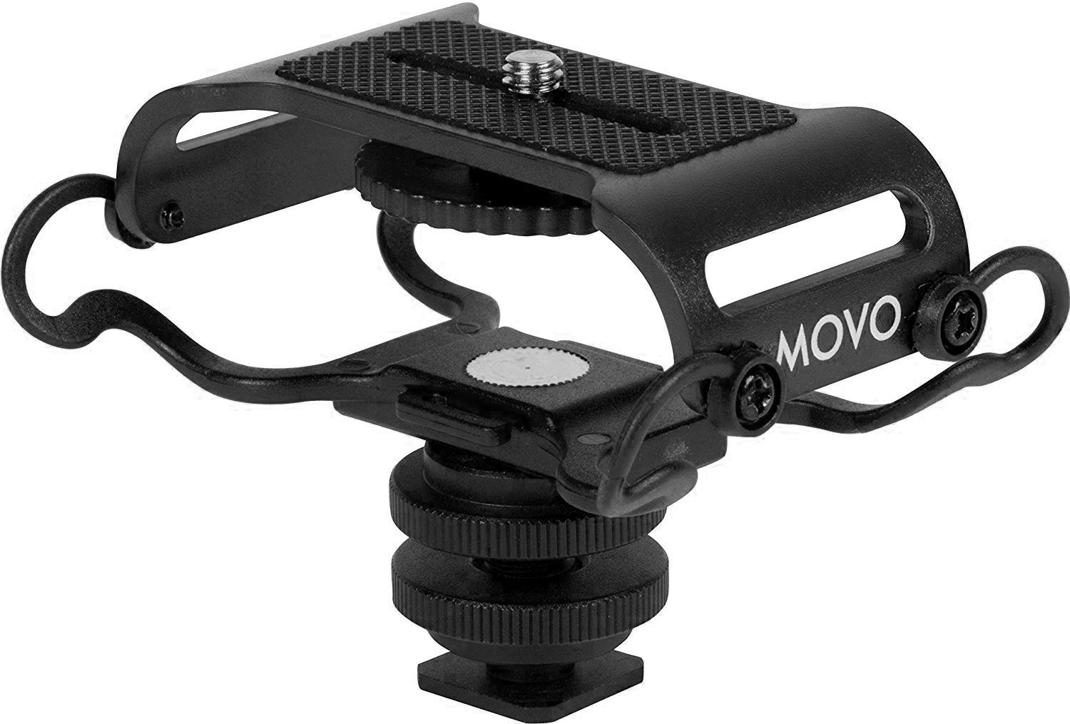 """Movo SMM5-B Universal Microphone and Portable Recorder Shock Mount - Fits the Zoom H4n, H5, H6, Tascam DR-40, DR-05, DR-07 with 1/4"""" Mounting Screw (Black/Black)"""