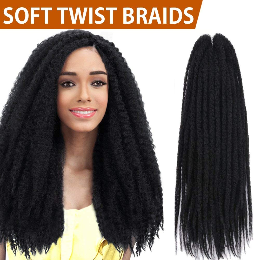 "FASHION IDOL 1 Pack 16"" Synthetic Afro Twist Braid Hair (Natural Black, 16"" Folded Length) - Afro Twist Braiding Hair - Synthetic Hair for Braiding - African Twist Crochet Hair - Marley Braiding Hair"