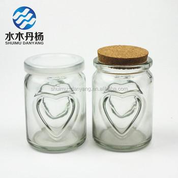 Heart Shaped Fancy Empty Glass Milk Bottle Pudding Glass Bottle With