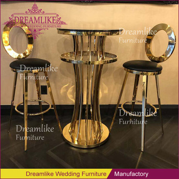 Bar Furniture gold stainless steel black pu leather outdoor bar stools