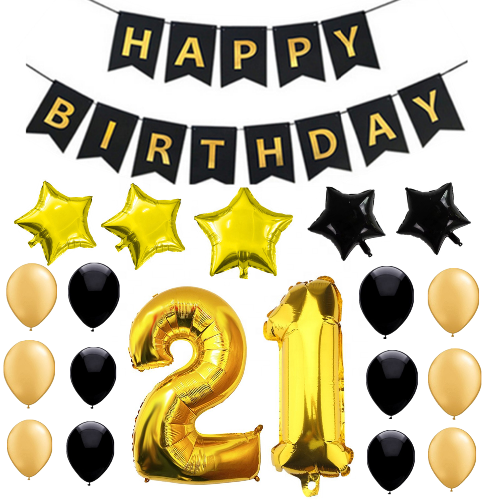 Free Shipping21st Birthday Banner Set Gold And Black Balloon For 21st Party Decorations