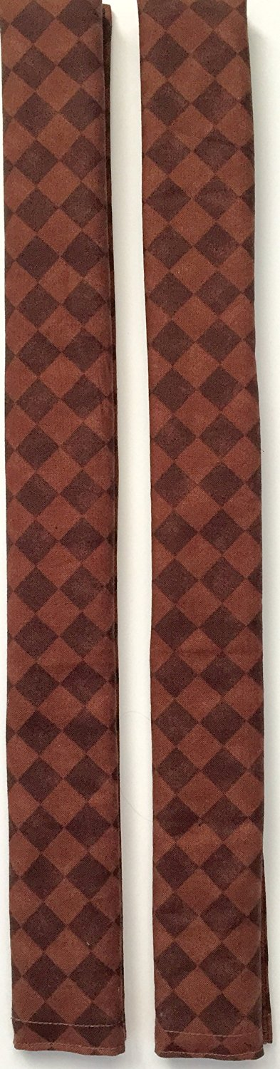 Anns Kitchen Appliance Handle Cover - Catches Drips, Smudges and Fingerprints Leaving Kitchen Appliances Shiny - Small Brown Squares on Brown Base- Set of 2