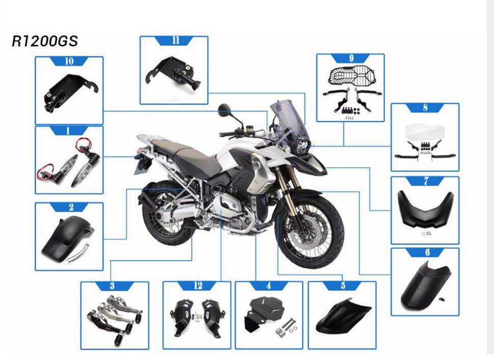 Bmw Motorcycle Parts >> R1200gs Motorcycle Cylinder Head Guards Protector Cover For Bmw