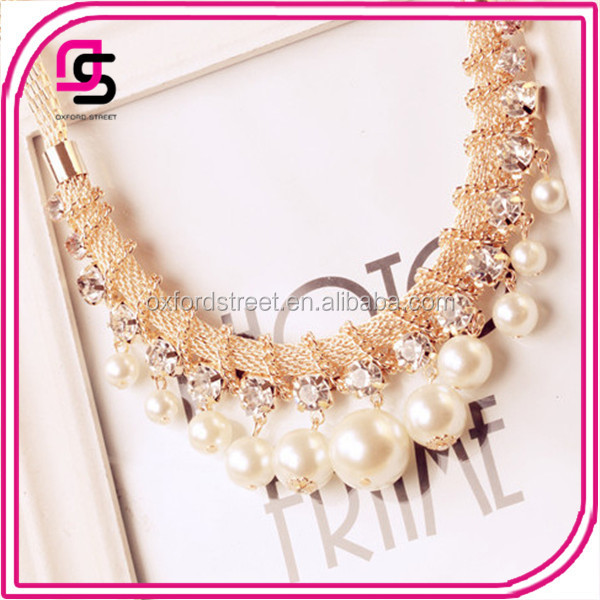2014 Alibaba China 18k Gold Pearl Necklace Designs With Crystal ...