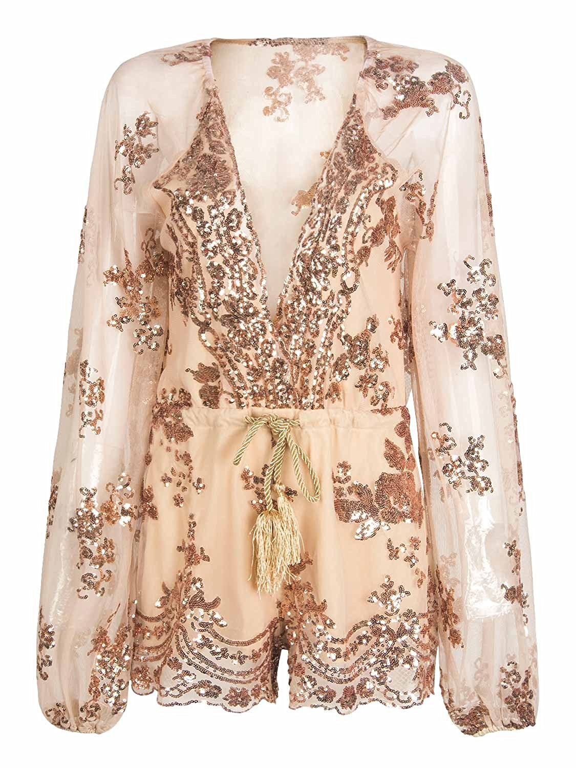 48d3f8b05d Get Quotations · Choies Women Gold Plunge Neck Drawstring See Through Romper  Sequin Party Playsuit