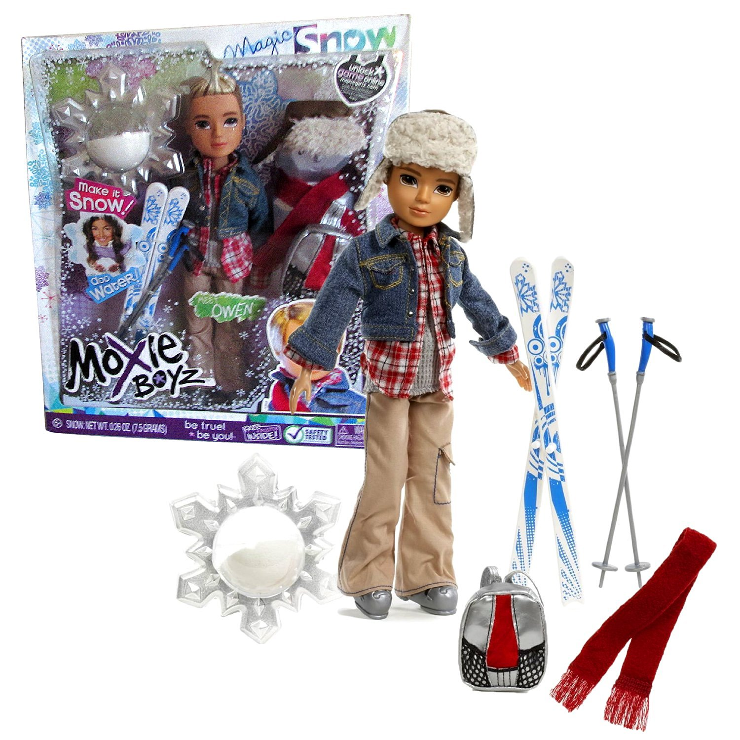 MGA Entertainment Moxie Boyz Magic Snow Series 11 Inch Doll - OWEN with Artificial Snow, Hat, Scarf, Backpack, 1 Pair of Skis and 1 Pair of Ski Poles Plus Bonus Poster