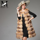 Top Quality Women Vest Winter Long Fur Vest Real Genuine Fox Fur Pelts Dyed