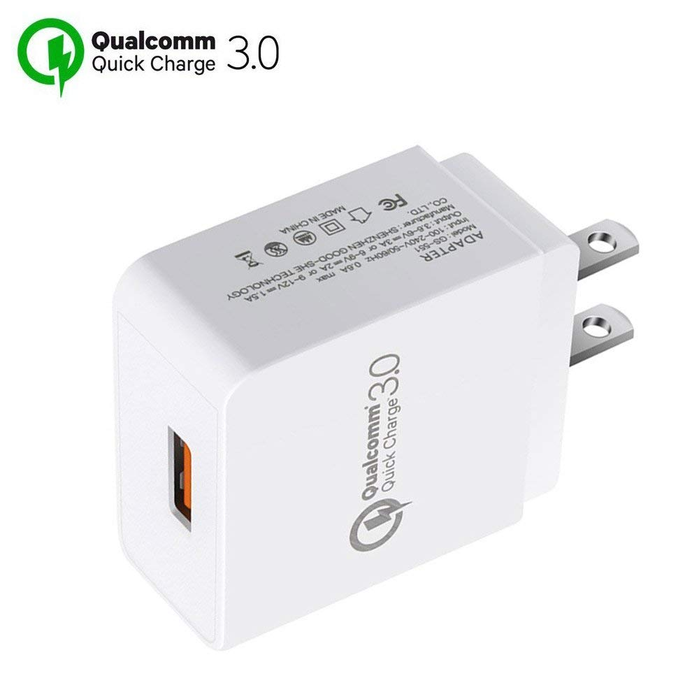 Quick Charger QC 3.0 Qualcomm Fast Charger, Portable Travel Smart Phone Charger Plug Fast AC Power Adapter, 18W Output USB Rapid Wall Charger for Iphone 8 Samsung S9 S8 Plus S7 (White QC 3.0)