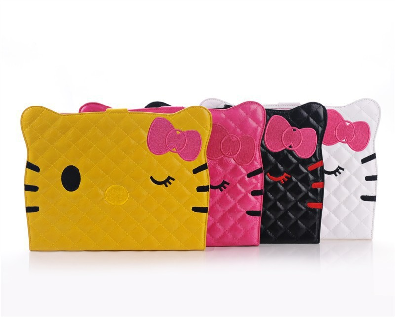 New Cute Cartoon Hello Kitty Leather Case Cover for iPad 4 2 3 case Retina Bow-Knot Stand Bag
