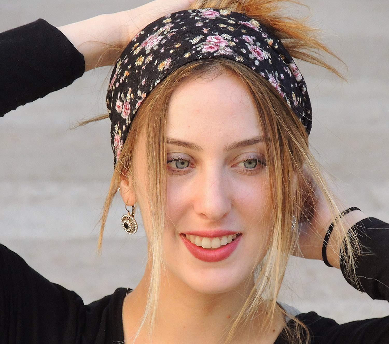 Stunning Floral Black Stretchy Lace Headband Bandana df0eb5118a1