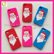Wholesale Cute Christmas Gifts Santa Claus Shaped 3D Phone Case,bulk cheap silicone mobile phone cover for iPhone for promotion