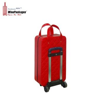 China factory luxury red faux leather travel luggage with custom luggage for men or women suitcase luggage vintage