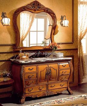 Viktorianischen Stil Aus Holz Badmöbel Set, Vintage Holz Geschnitzt  Badezimmerschrank, Sanitärkeramik Antiken Wasserhahn Stil