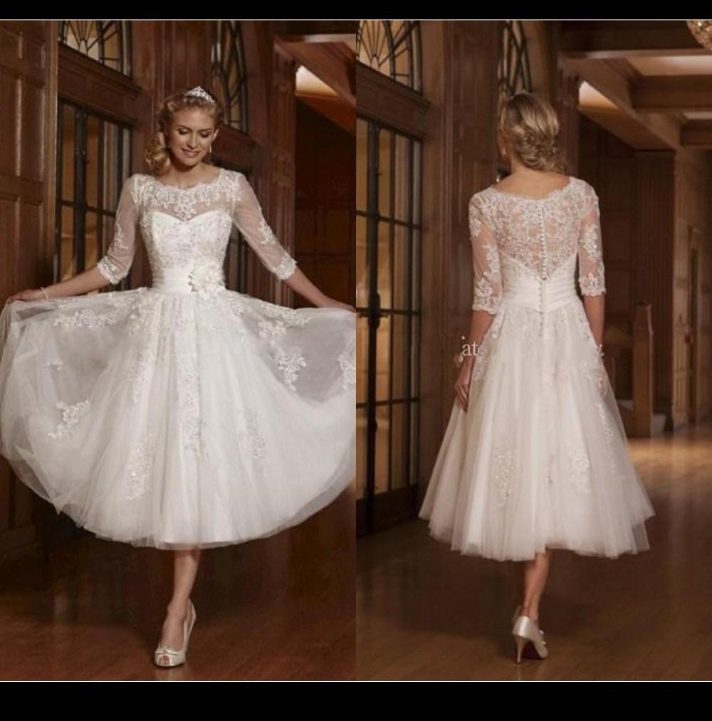Long Sleeve A Line White 2015 Short Wedding Dresses Scoop