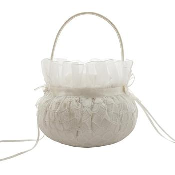 M4645-1I Wedding flower girl basketLinen lace wedding decoration sets low-key luxury guest book pen holder flower basket Ring pi