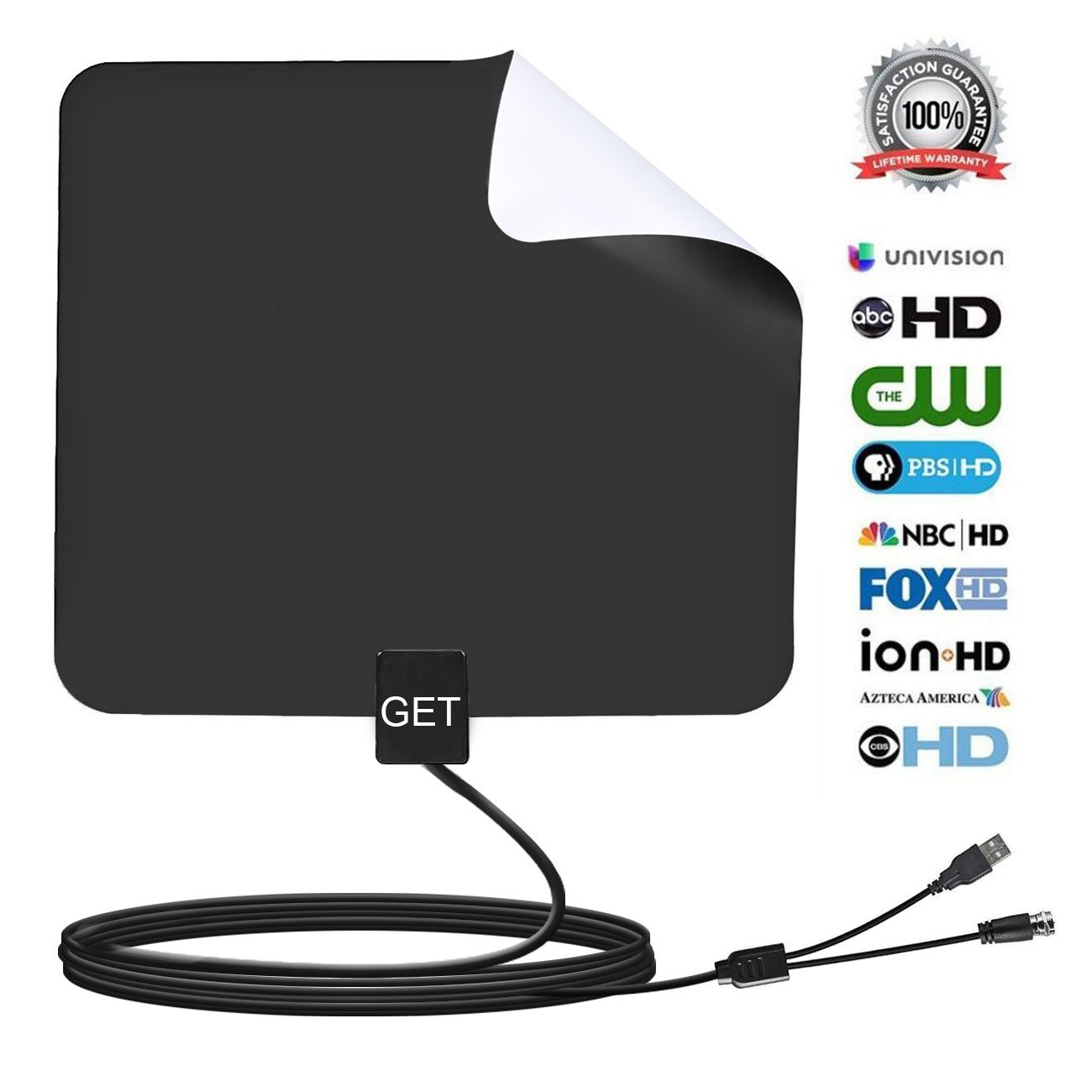 Get Amplified HDTV Antenna 50~65 Mile Range for Digital TV,Support 4K/1080P/Full HD/VHF/UHF with 13.2ft Coax Cable(black)