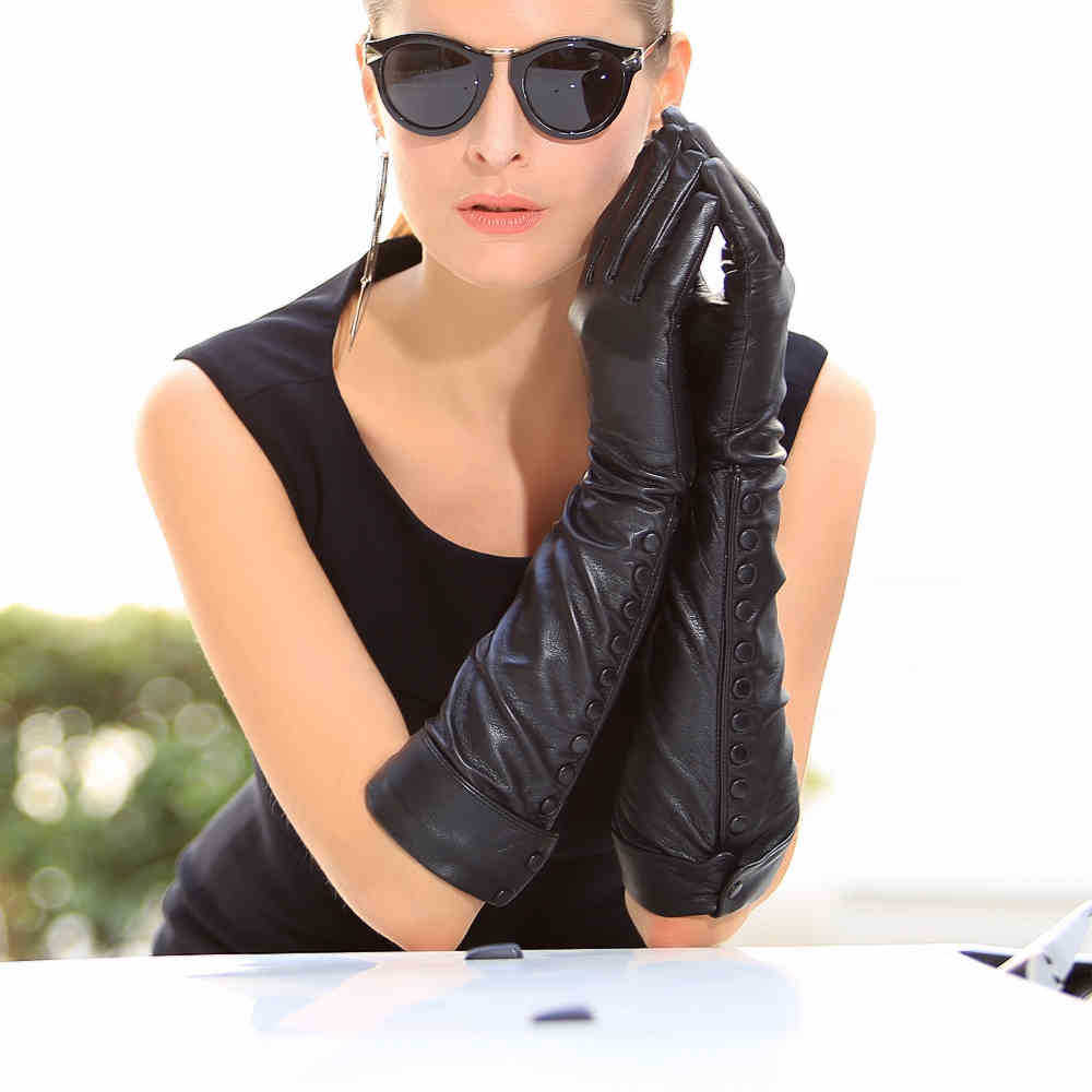 Black leather gloves female - Get Quotations 50cm Long Leather Gloves Women Banquet Genuine Leather Gloves Female Black Sheepskin Gloves With Buttons Driving