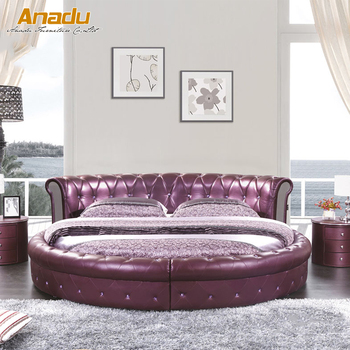Modern Round Leather Soft Bed Rt8750