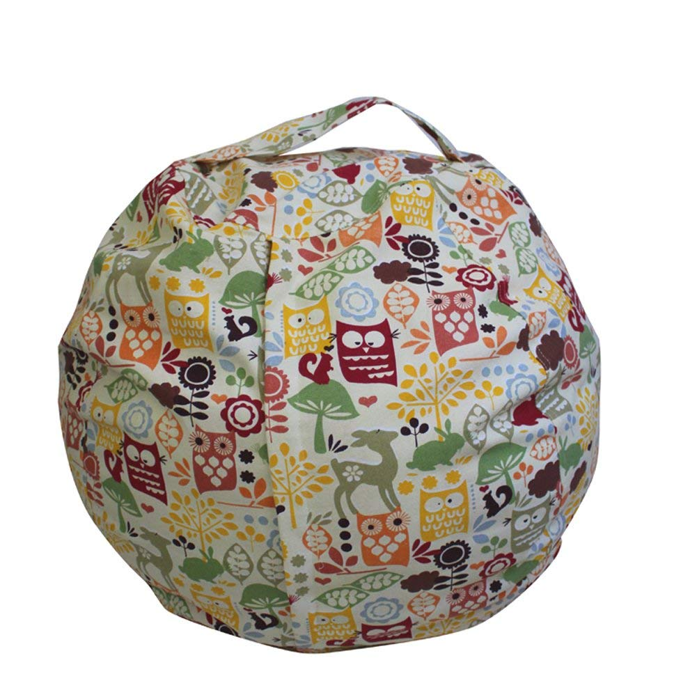 BeSpring Kid's Kids Bean Bag Cover with A Handy Storage Pouch by Clean up their Room and Hide those Stuffed toys out of sight! Available in 9 different Patterns(24 inches Diameter,Owl)