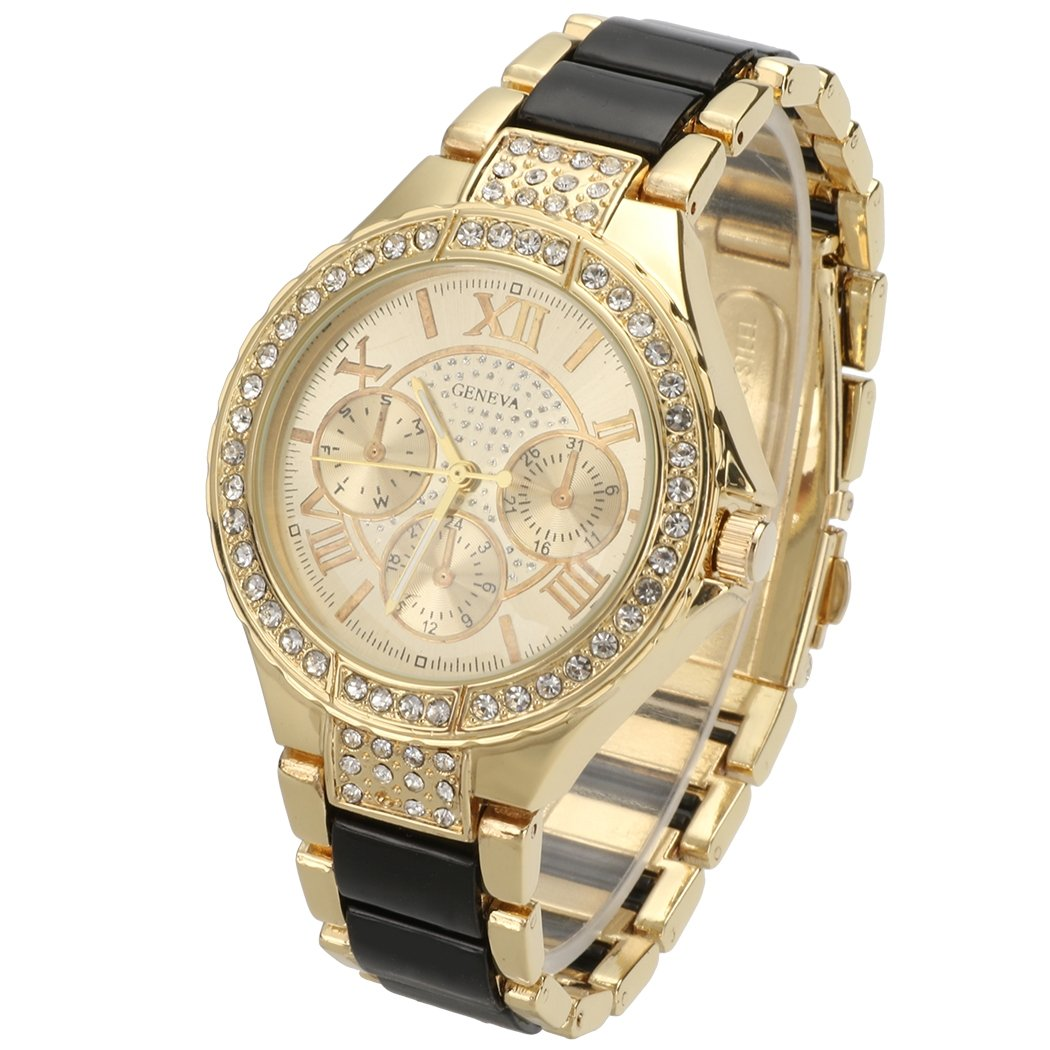 cf52900042f Get Quotations · GETOR Sale Women Round Bracelet Watch Ladies Gold Silver  Designer Style Crystal Watches