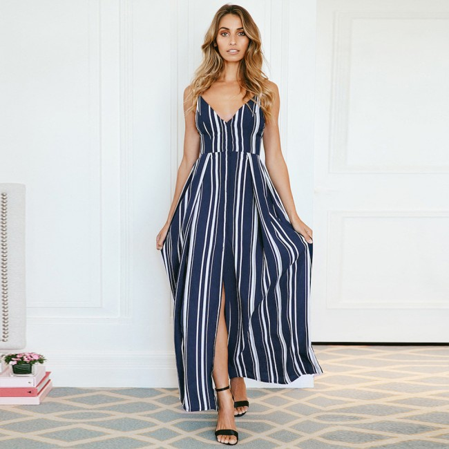 Hot sale sexy <strong>women</strong> v neck <strong>western</strong> style stripe <strong>women</strong> long <strong>dress</strong>