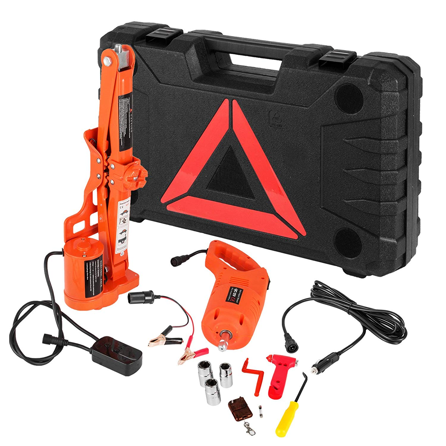Bestauto 3 Ton Electric Car Jack 12V Scissor Lift Jacks Electric 6600LBS Jack Lifting Car With Impact Wrench