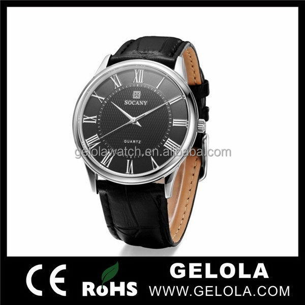 2015 hot selling wholesale watch fashion men watch with genuine leather band from aibaba china