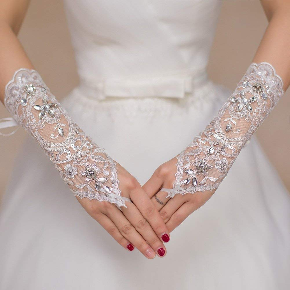 ZBmiluddeer Lace Rhinestone Flower Bride Fingerless Gloves Bridal Wedding Dress Accessories - White