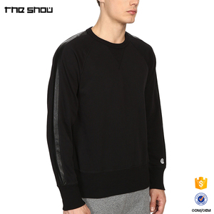 Wholesale custom made crew neckline mens leather sleeve sweatshirt